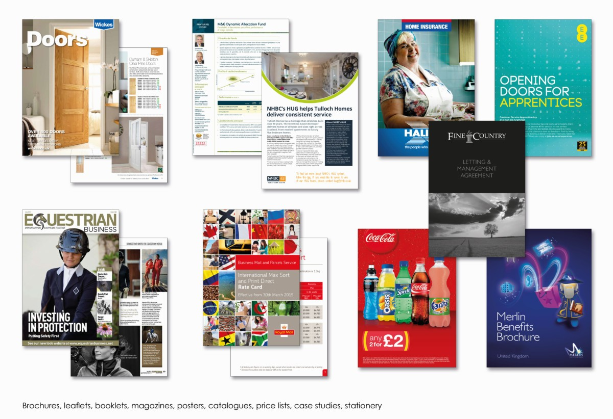Brochures, leaflets, booklets, magazines, posters, catalogues, price lists, case studies, stationery