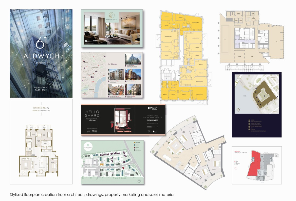 Stylised floorplan creation from architect's CAD drawings for use in property marketing and sales material