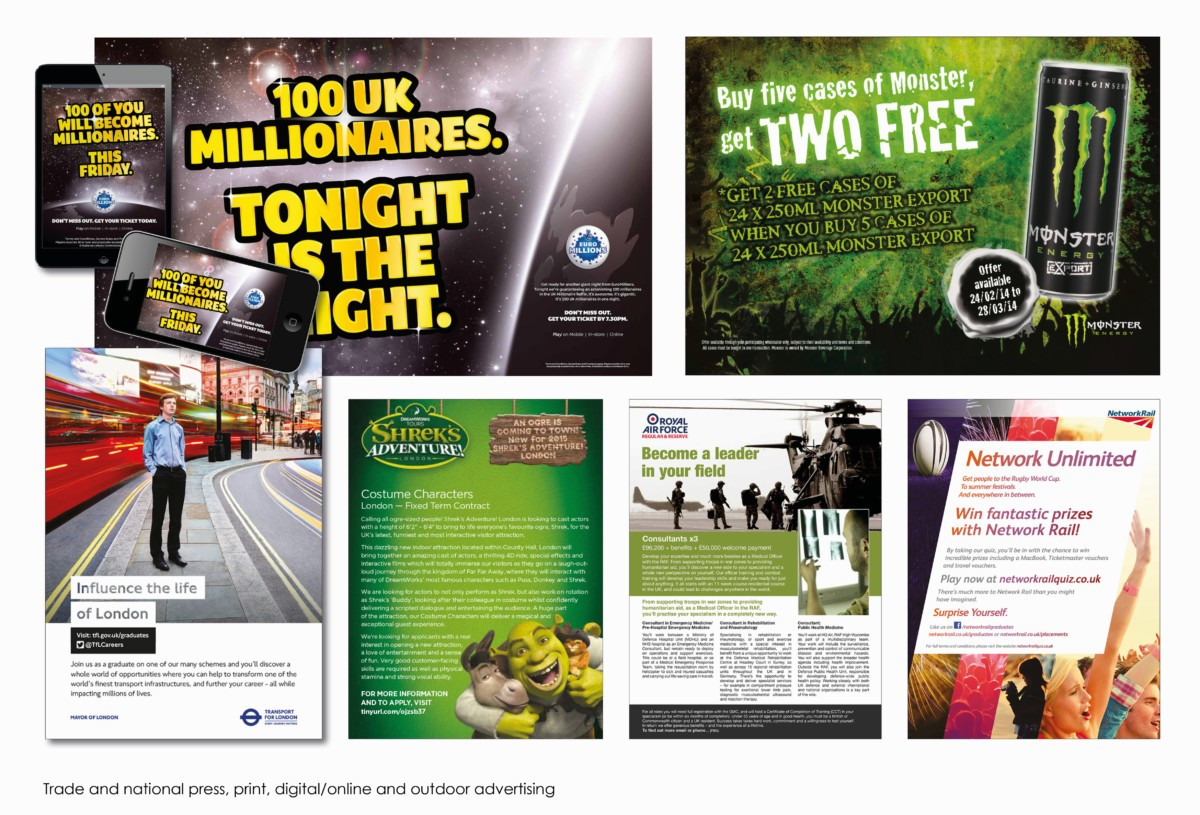 Trade and national press, print, digital/online and outdoor advertising