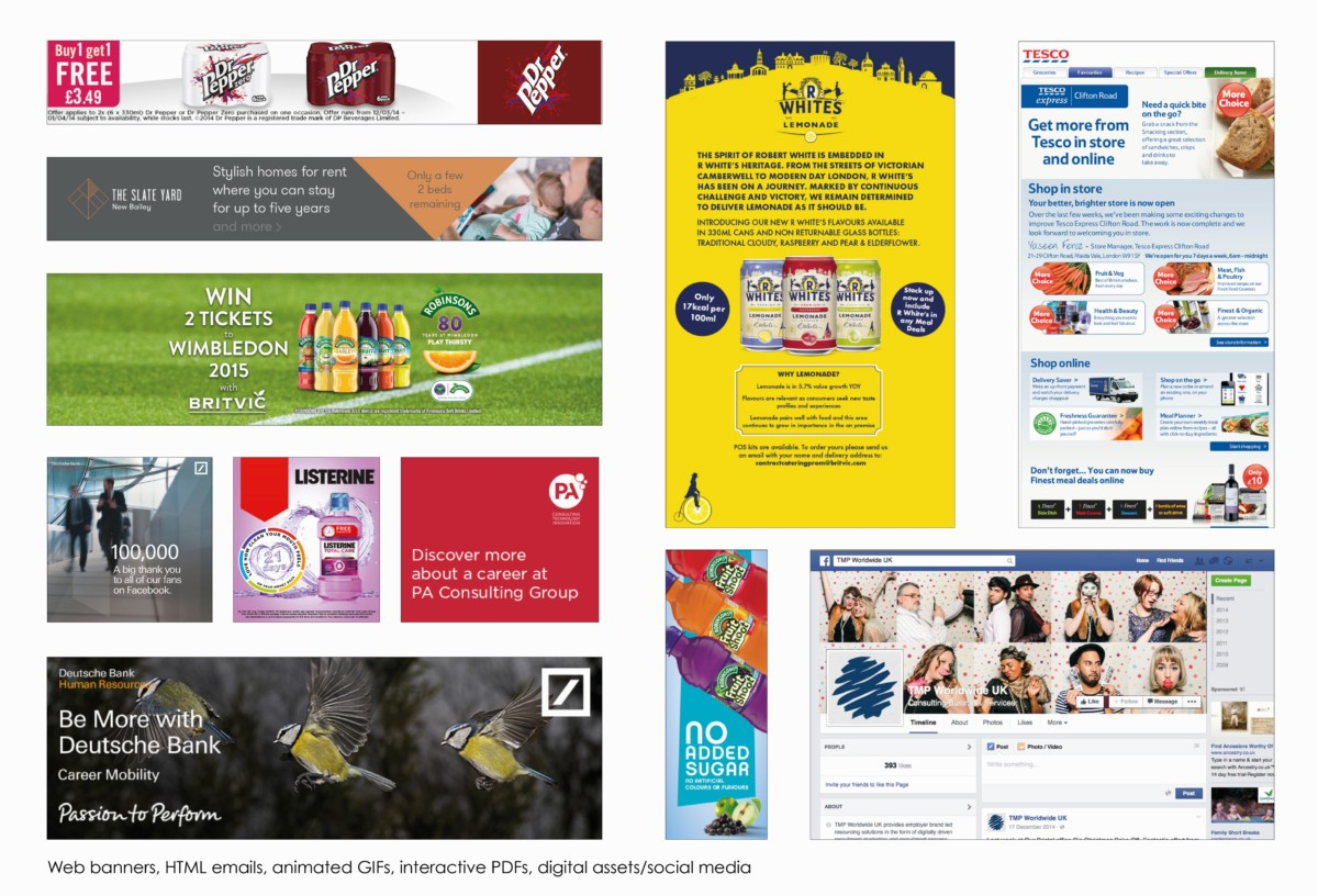 Web banners, HTML emails, animated GIFs, interactive PDFs, digital and social media assets