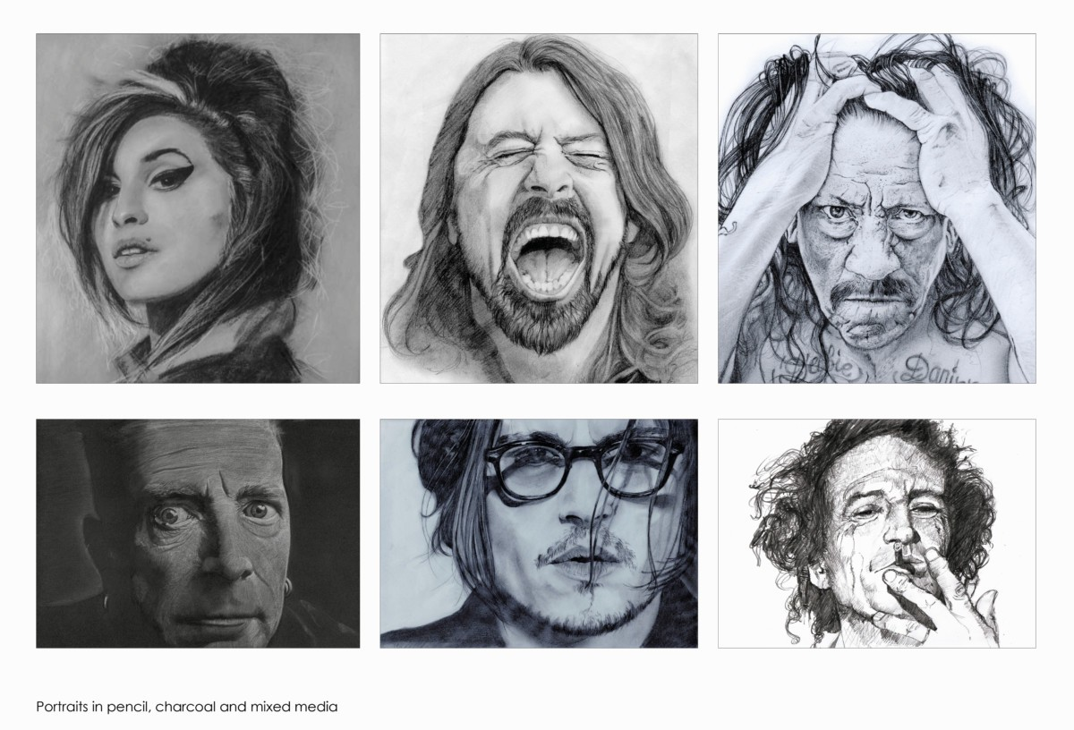Portraits in pencil, charcoal and mixed media